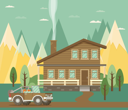 glued: Chalet, wooden house, eco house, house on the nature - vector flat illustration. Illustration