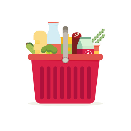 Shopping basket with fresh food and drink.Buy grocery in the supermarket. Vector flat design illustration Çizim
