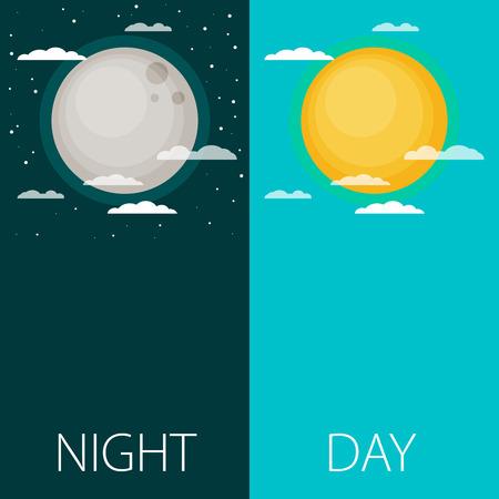 Giorno e notte illustrazioni vettoriali o banner. Sole e Luna
