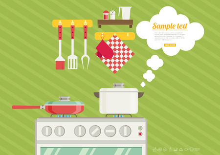 pans: Interior of kitchen, pans on the stove, cooking. Vector illustration in flat style Illustration