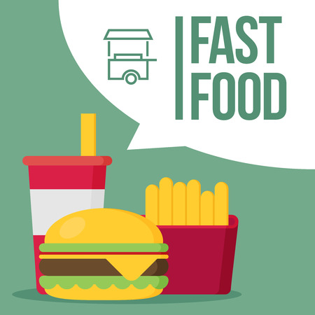 fl: French fries, humburger and soda takeaway vector background. Fast food flat design