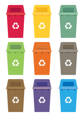 garbage bin: Waste sorting garbage bin set vector. Waste management and recycle concept with waste bin set. Illustration
