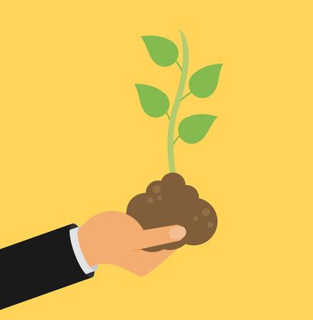 seedling: Hand holding seedling flat design