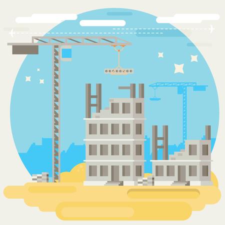 materiales de construccion: Construyendo una casa. Vector ilustración plana.
