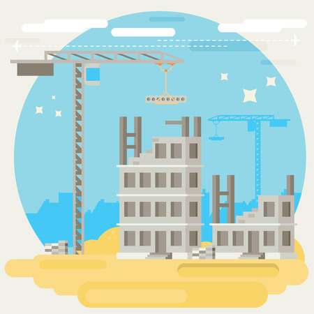 Building a house. Vector flat illustration.