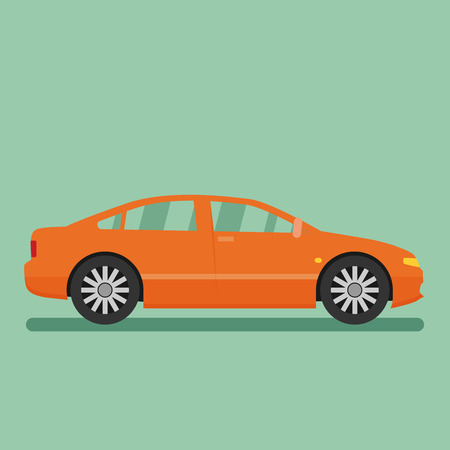 sedan: Isolated vector car. Flat design style