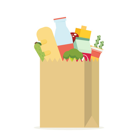 Paper bag, package with food and drink products. Flat design colored vector illustration Stock fotó - 60055624