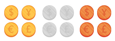 currency converter: Flat Coin vector set