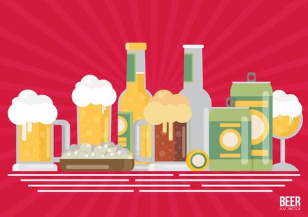 bier: Bottle of beer with glass, flat design modern vector illustration.