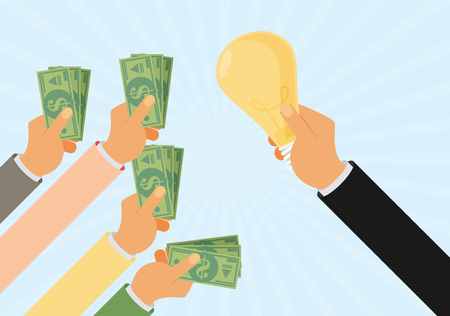 contributions: Crowdfunding, investing into ideas, funding project by raising monetary contributions, venture capital flat design colorful vector illustration concept