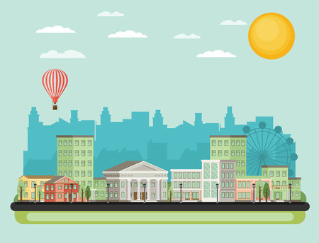 urban city: Urban landscape. Vector illustration.