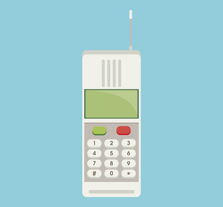 keypad: Cordless phone vector flat icon. Vector flat icon of phone with keypad and display.