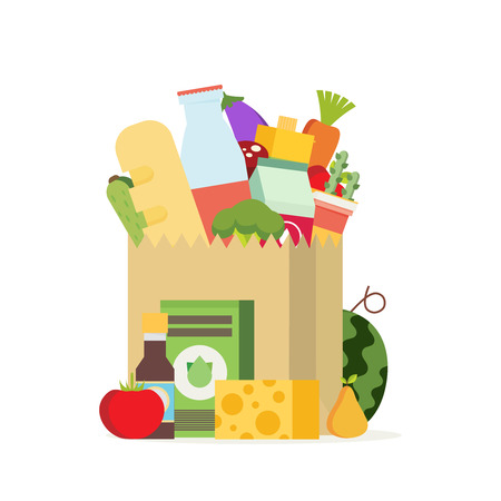 Paper bag, package with food and drink products. Flat design colored vector illustration