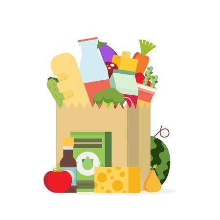 Sacchetto di carta, pacchetto con prodotti alimentari e bevande. Piatto disegno colorato illustrazione vettoriale