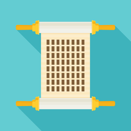 hebrew bibles: Vector torah with long shadow, flat design Illustration