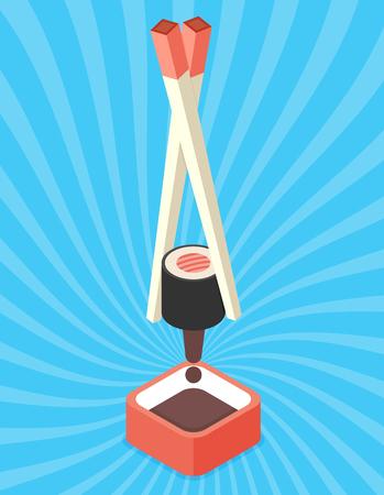 Food illustration - sushi roll with nori. Modern 3d flat design isometric concept.  イラスト・ベクター素材