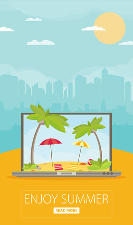 wave tourist: Vacation and travel banner with tropical seaside