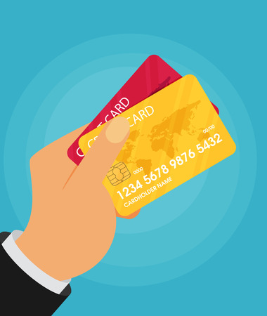 holding credit card: Hand holding credit card. Vector flat illustration