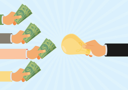 Crowdfunding, het investeren in ideeën, de financiering van het project door het verhogen van de monetaire bijdragen, venture capital platte ontwerp kleurrijke vector illustratieconcept