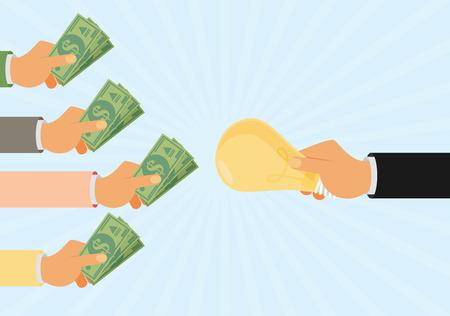 Crowdfunding, invertir en ideas, la financiación de proyectos de obtención de aportes monetarios, el capital riesgo diseño plano colorido del vector concepto de ilustración