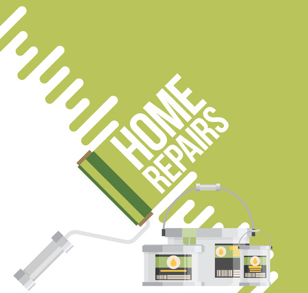 home repairs: home repairs with roller. Vector flat.