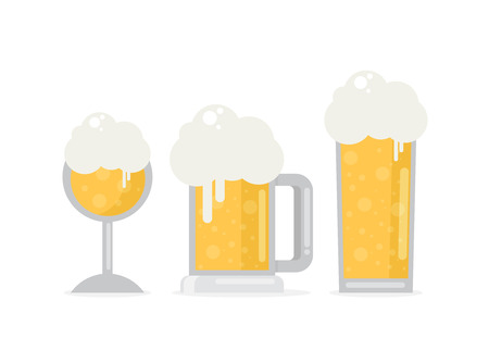 pint: Set of beer icons. Beer bottle, glass, pint. Oktoberfest. Vector flat illustration isolated on white background.