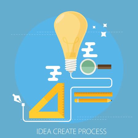 idea creating process concept flat
