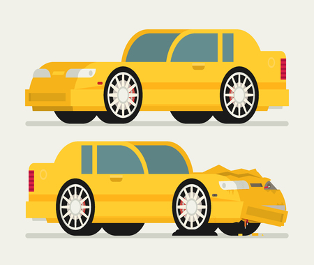before: Flat car vehicle before and after car crash road accident. Illustration