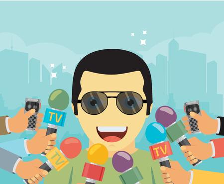 vector informe vivo concepto, noticias en vivo, las manos de los periodistas con micrófonos y grabadoras.