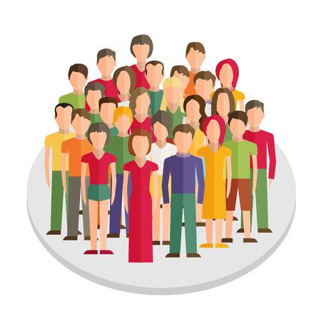 Ilustración plana de los miembros de la sociedad con un grupo grande de hombres y mujeres