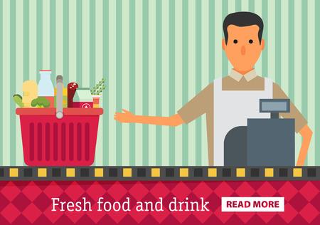 edibles: Supermarket. Buy grocery in the supermarket. Vector flat design illustration Illustration