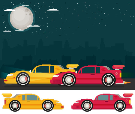street racing: Night street racing. Flat vector.