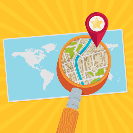 squire: World map and magnifying glass. Flat vector