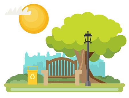 Public park in the City. Vector illustration. Illustration