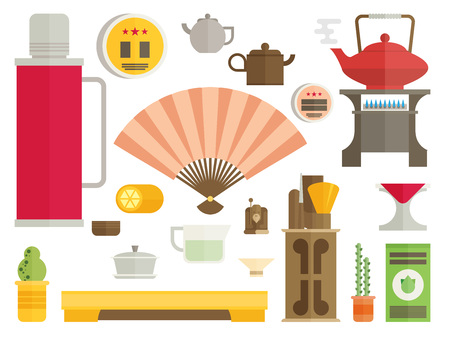 tea ceremony: Tea ceremony icon set flat vector