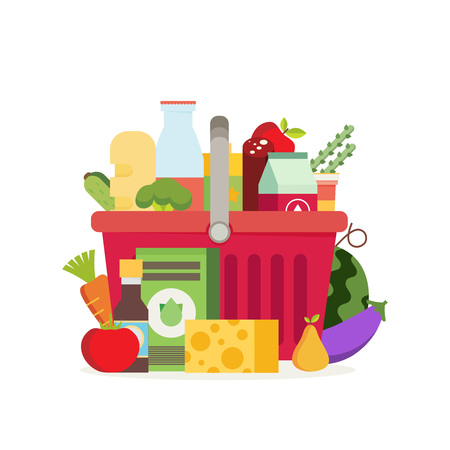 Shopping basket with fresh food and drink.Buy grocery in the supermarket. Vector flat design illustration Иллюстрация