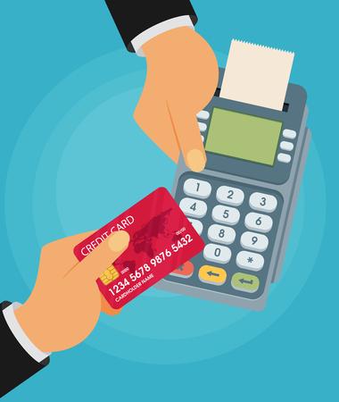 merchant: pay merchant hands credit card flat vector illustration payment Illustration