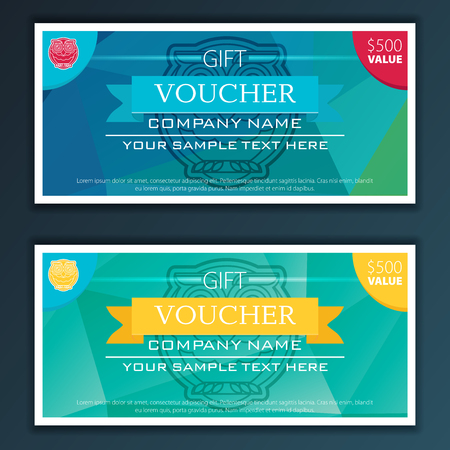 restaurant bill: Gift voucher template with modern flat pattern and owl.
