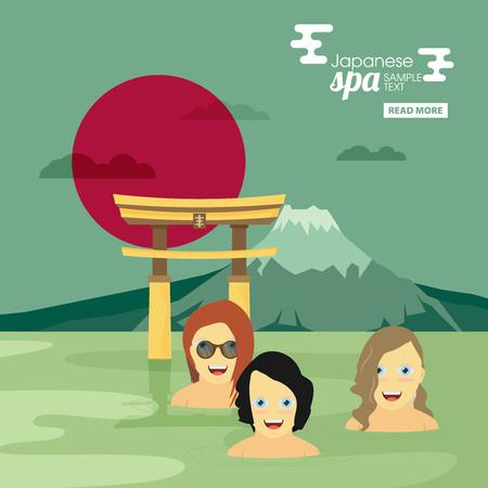 steam bath: Japanese spa flat vector banner Illustration