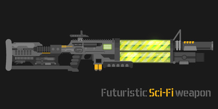 Futuristic Sci-Fi weapon. Vector illustration