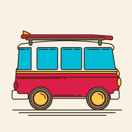 buss: Vector illustration of a retro travel van flat style