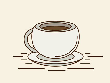 sip: The coffee cup. Flat vector.