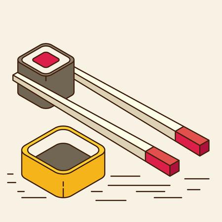 nori: Food illustration - sushi roll with nori. Modern 3d flat design isometric concept. Illustration