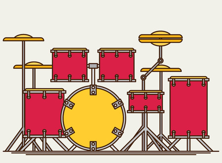 cymbal: Color flat style vector drum set. Bass tom-tom ride cymbal crash hi-hat snare stands