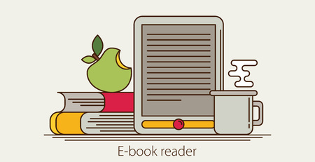 digital library: E-book reader and modern education by technology - vector flatstyle