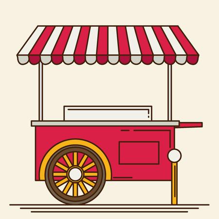 carretto gelati: Lucido colorato gelato illustrazione carrello Vector.