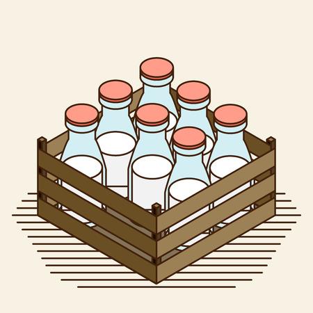 spurt: Bottle of milk vector image set