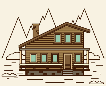 family vacation: Chalet, wooden house, eco house, house on the nature - vector flat illustration. Illustration