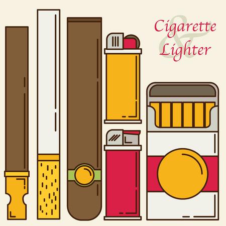 baccy: Cigarette and lighter set.