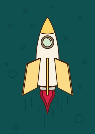 Space rocket flying in sky, flat design colored vector illustration